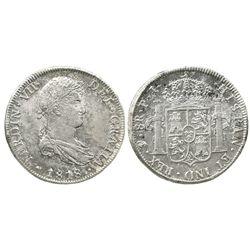 Potosi, Bolivia, bust 8 reales, Ferdinand VII, 1818PJ.