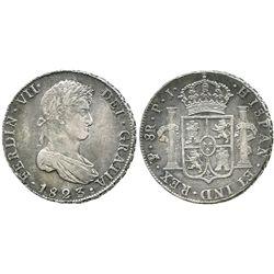 Potosi, Bolivia, bust 8 reales, Ferdinand VII, 1823PJ.