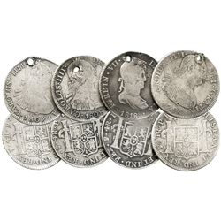 Lot of 4 Potosi, Bolivia, bust 4 reales: 1799PP, 1807PJ and 1808PJ under Charles IV; and 1818PJ unde