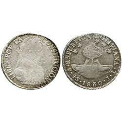 Potosi, Bolivia, 4 soles, 1830JL, medal alignment.