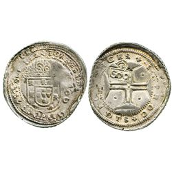 """Brazil, 500 reis, crowned-""""S00"""" countermark (1663) on a Lisbon, Portugal, 400 reis of Joao IV, with"""