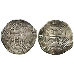 Brazil, 500 reis, crowned- 500  countermark (1663) on a Lisbon, Portugal, 400 reis of Joao IV.