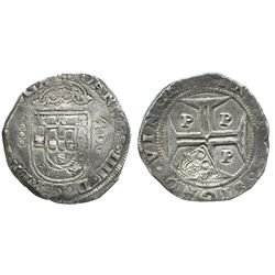 "Brazil, 500 reis, crowned-""S00"" countermark (1663) on a Porto, Portugal, 400 reis of Joao IV."
