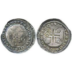 """Brazil, 250 reis, crowned-""""2S0"""" countermark (1663) on a Lisbon, Portugal, 200 reis of Joao IV, encap"""