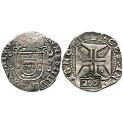 """Brazil, 250 reis, crowned-""""2S0"""" countermark (1663) on a Lisbon, Portugal, 200 reis of Joao IV."""