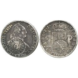 Brazil (Minas Gerais), 960 reis, crowned-arms counterstamp (1808) on a Santiago, Chile, bust 8 reale