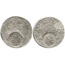 Brazil (Minas Gerais), 960 reis, crowned-arms counterstamp (1808) on a Lima, Peru, bust 8 reales, Ch