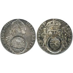 Brazil (Minas Gerais), 960 reis, crowned-arms counterstamp (1808) on a Potosi, Bolivia, bust 8 reale