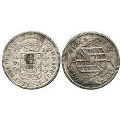 Brazil (Bahia mint), 960 reis, 1814-B, struck over a Santiago, Chile, bust 8 reales of Charles IV, 1
