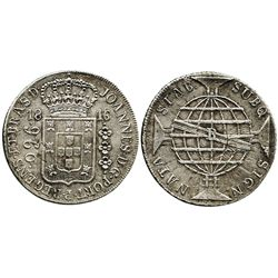 """Brazil (Bahia mint), 960 reis, 1816-R, struck over an Argentina (Potosi) """"sunface"""" 8 reales or 8 sol"""