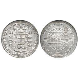 Brazil (Bahia mint), 960 reis, 1816-B, struck over a Cadiz, Spain, bust 8 escudos of Ferdinand VII,