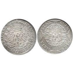 Brazil (Rio mint), 960 reis, 1820-R, struck over an unidentified Spanish colonial bust 8R, encapsula