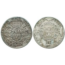 Brazil (Rio mint), 960 reis, 1821-R, struck over an unidentified Spanish colonial bust 8R.