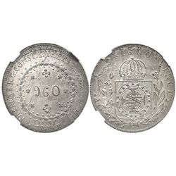 Brazil (Rio mint), 960 reis, Pedro I, 1823-R, struck over an unidentified Spanish colonial bust 8R,