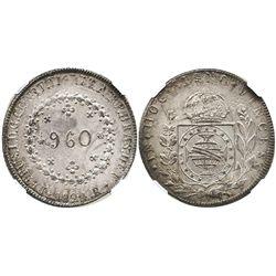 Brazil (Rio mint), 960 reis, Pedro I, 1824-R, struck over a Potosi, Bolivia, bust 8R of Ferdinand VI