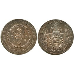 Brazil (Rio mint), copper 80 reis, Pedro I, 1831-R, struck over a previous 80 reis (rare).