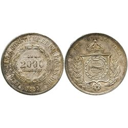 Brazil, 2000 reis, Pedro II, 1855.