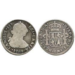 Santiago, Chile, bust 2 reales. Charles III, 1784DA.