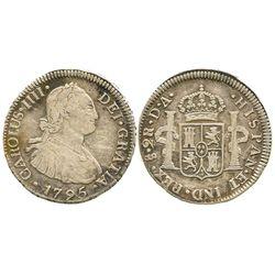 Santiago, Chile, bust 2 reales, Charles IV, 1795DA.
