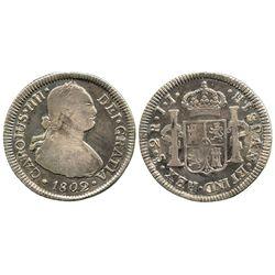 Santiago, Chile, bust 2 reales, Charles IV, 1802JJ.