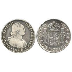 Santiago, Chile, bust 2 reales, Charles IV, 1808FJ.
