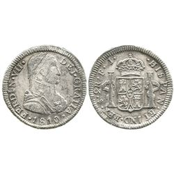 """Santiago, Chile, bust 2 reales, Ferdinand VII transitional (""""admiral's bust""""), 1810FJ."""