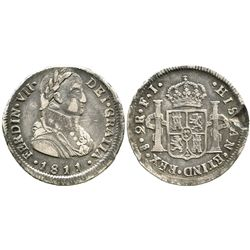 """Santiago, Chile, bust 2 reales, Ferdinand VII transitional (""""admiral's bust""""), 1811FJ."""
