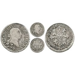 Santiago, Chile, 1/4 real, Charles IV (bust of Charles III), 1790.