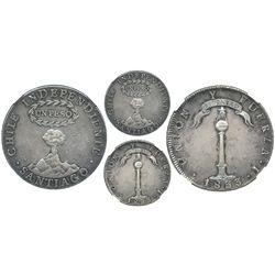 Santiago, Chile, 1 peso, 1833I, encapsulated NGC AU 50.