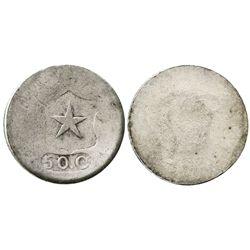 Copiapo, Chile, 50 centavos, (1859), flat star, wide shield.