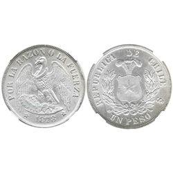 Santiago, Chile, 1 peso, 1878, encapsulated NGC MS 63.