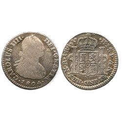 Bogota, Colombia, bust 1 real, Charles IV, 1804JJ.