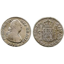 Bogota, Colombia, bust 1 real, Ferdinand VII (bust of Charles IV), 1812JF.
