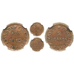 Popayan, Colombia, copper 2 reales, Ferdinand VII, 1813, encapsulated NGC MS 62 BN.