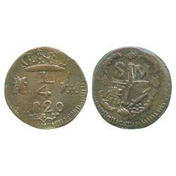 Santa Marta, Colombia, copper 1/4 real, Ferdinand VII, 1820.