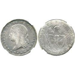 Medellin, Colombia, 1 peso, 1869, encapsulated NGC AU 53.