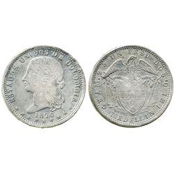 Medellin, Colombia, 1 peso, 1870/9.