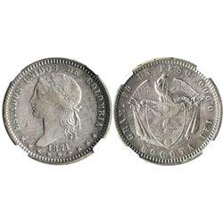 Bogota, Colombia, 1 peso, 1871, encapsulated NGC VF 35.