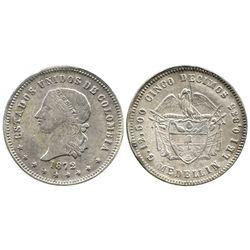 Medellin, Colombia, 5 decimos, 1872, ex-Lozano.