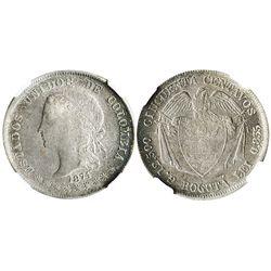 "Bogota, Colombia, 50 centavos, 1874, denomination as ""cincuenta,"" encapsulated NGC AU 55."