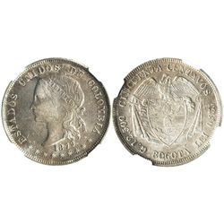 Bogota, Colombia, 50 centavos, 1879/1879, encapsulated NGC AU 58.