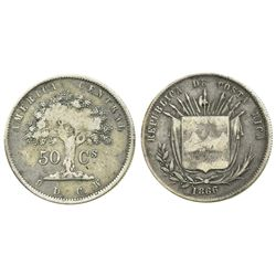 Costa Rica, 50 centavos, 1866/5GW.