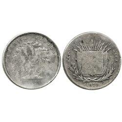 Costa Rica, 50 centavos, 1870(GW), rare date.