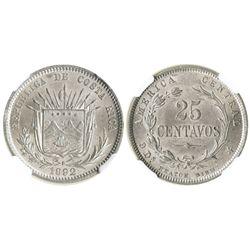 Costa Rica (struck in Birmingham, England), 25 centavos, 1892-HEATON-BIRMM, encapsulated NGC MS 63.