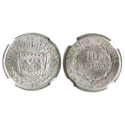 Costa Rica (struck in Birmingham, England), 10 centavos, 1892-HEATON-BIRMM, encapsulated NGC MS 66,
