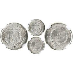 Costa Rica (struck in Birmingham, England), 5 centavos, 1892-HEATON-BIRMM, encapsulated NGC MS 65, t