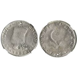"""Quito, Ecuador, 8 reales, """"MDQ"""" countermark (1831) on obverse of a Bogota, Colombia, 8R, 1820JF, enc"""