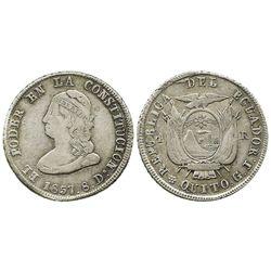 Quito, Ecuador, 4 reales, 1857GJ.