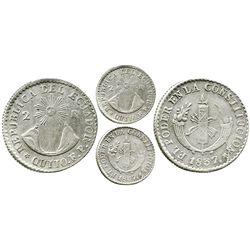 Quito, Ecuador, 2 reales, 1837FP, rare. KM-21. 6.0 grams. Choice strike