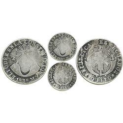 """Quito, Ecuador, 2 reales, 1838MV, unique error with """"PQDER"""" in legend."""